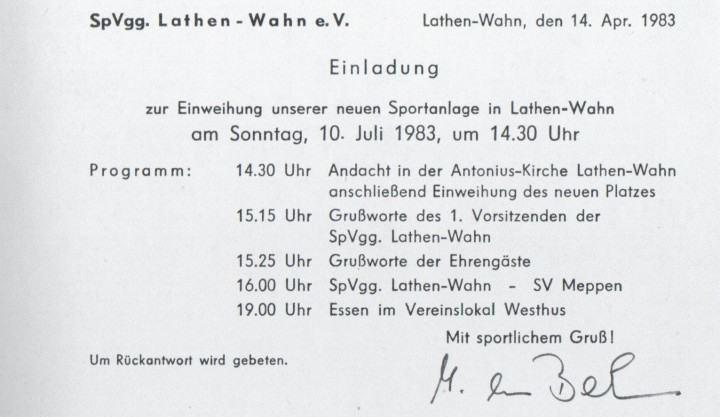 Einladung - Neuer Sportplatz in Lathen-Wahn