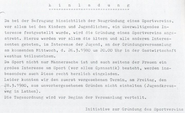 Handzettel mit der Einladung zur Gründung eines Sportvereins