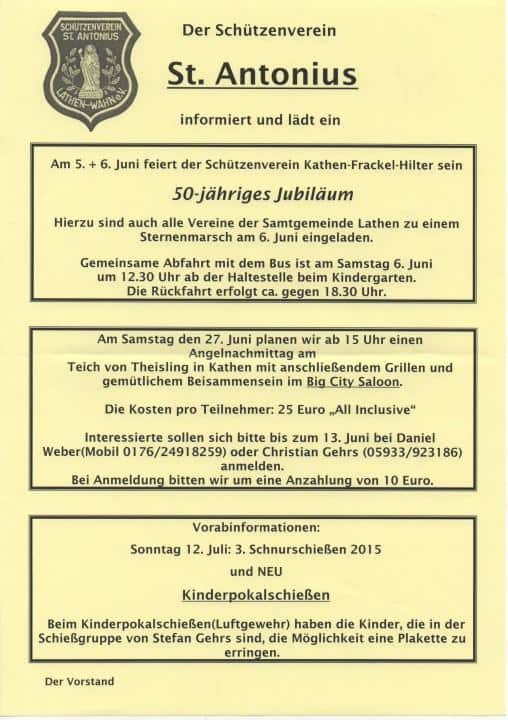 Jubiläum Kathen-Frackel Hilter
