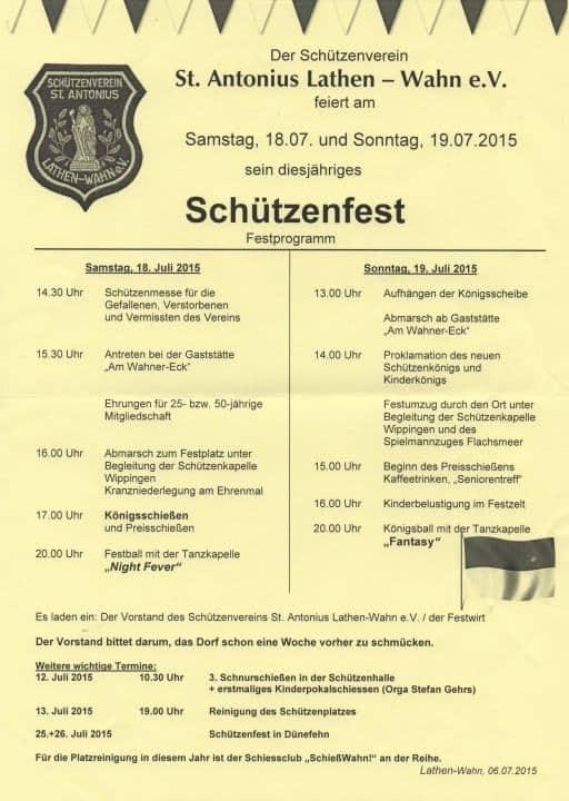Schützenfest 2015 Lathen-Wahn