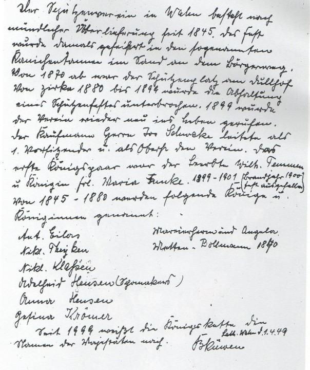 Gründungsschrift Schützenverein