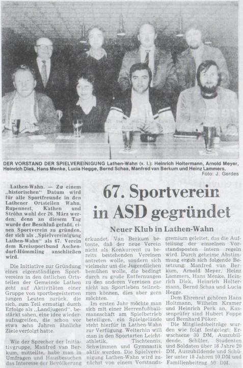 neue Sportverein in Lathen-Wahn