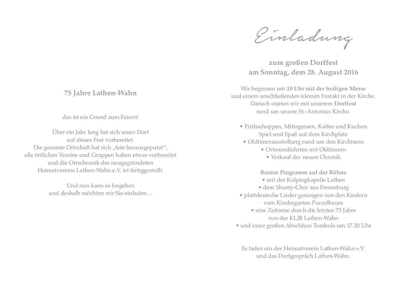 einladung zur 75-jahr-feier - lathen-wahn.de, Einladung