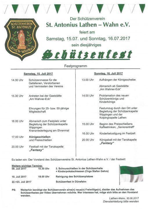 Festprogramm Schützenfest Lathen-Wahn 2017